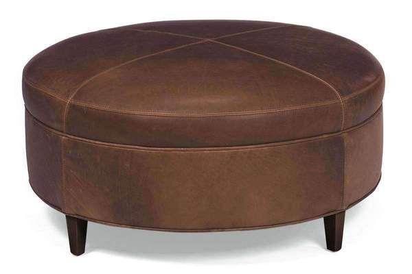 Round Leather Ottoman Andover Inlay Welt Footstool Round