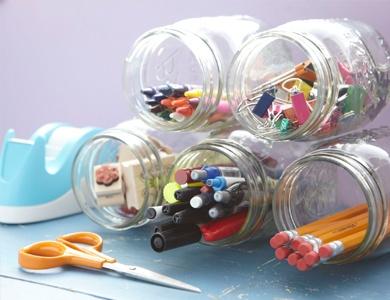 50 different ways to reuse and re-purpose glass jars: Organizations Ideas, Crafts Rooms, Desks Organizations, Schools Supplies, Hot Glue, Glasses Jars, Offices Organizations, Mason Jars, Offices Supplies