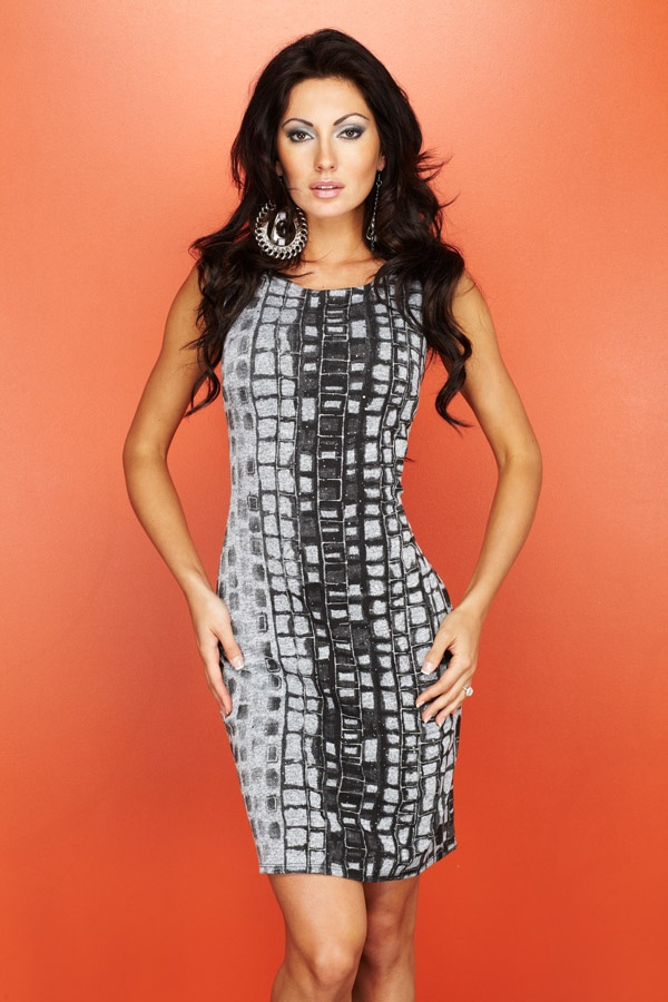 Graphic print dress #24178 in soft gray from Frank Lyman Design Fall 2012 collection #FrankLyman