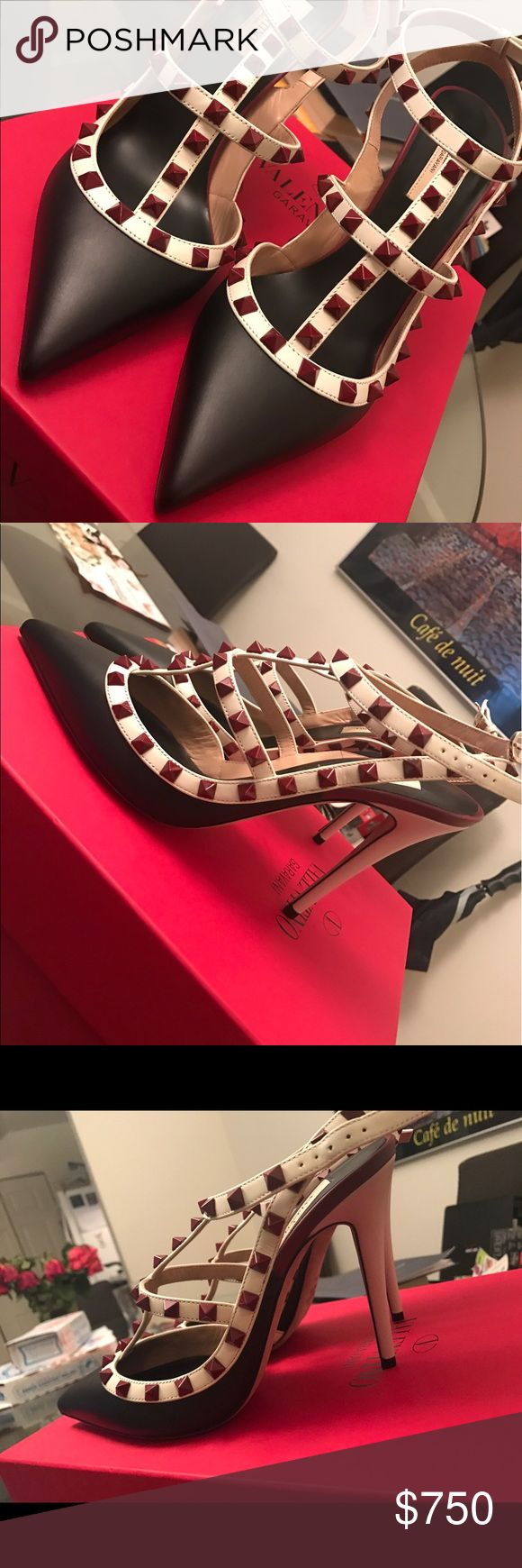 NWT Valentino Red Rose Black Rockstud Pumps! Brand New! Never worn! 100% authentic. From the spring/summer 2016 collection. 100% Leather. Black, red rockstuds. Absolutely gorgeous, one of a kind! Valentino Garavani Shoes Heels
