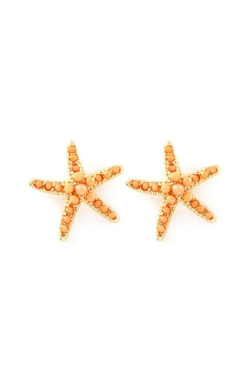 Tangerine Sorbet Starfish Earrings