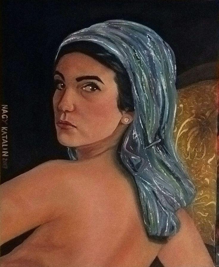 """Nagy Katalin """"Blue head scarf"""" 50×40 oil canvas"""