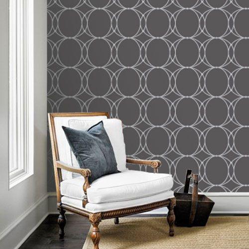 Oval Geometric Dark Grey Removable WallPaper
