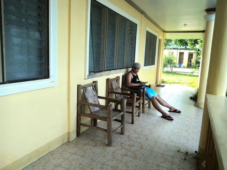 Chyll chilling outside our rooms in Higatangan Island