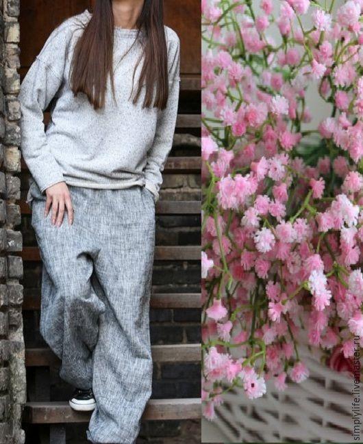Купить Шаровары меландж - серый, штаны, шаровары, широкие брюки, серые шаровары, свободные штаны