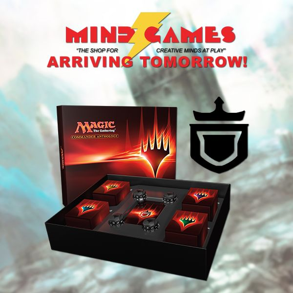 """Don't miss out, Magic: The Gathering Commander Anthology is coming tomorrow to most of our stores! Call your local store to find out more: http://mindgames.ca/store-locations  In the same spirit as Duel Decks: Anthology and Planechase Anthology, Commander Anthology gathers four previous Commander products–""""Heavenly Inferno,"""" """"Evasive Maneuvers,"""" """"Guided by Nature,"""" and """"Plunder the Graves""""–together in one convenient package. Includes four specialized life counters, tokens, and all cards…"""