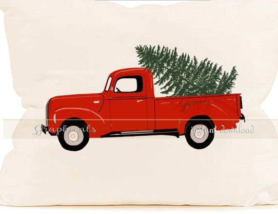 Christmas Red Truck Tree Wreath Printable Image Digital Download For Iron On Transfer To Fabric ...