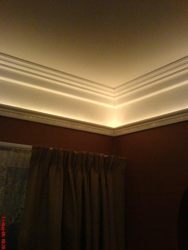 Double crown molding, rope lighting