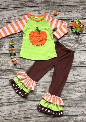 Orange & Green Pumpkin Outfit with Accessories PRE-ORDER