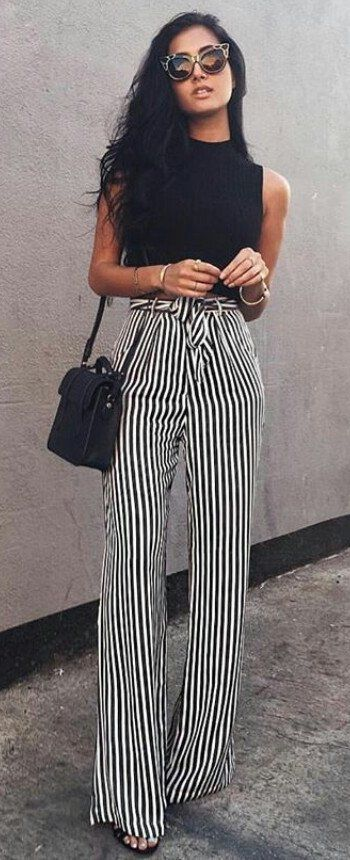 #spring #outfits  Black Tank + White Striped Wide Pants