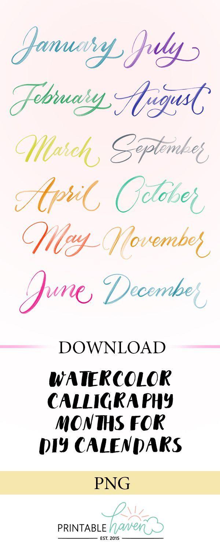 Farbe #Download #Kalligraphie #Schriftarten #für #Monate #