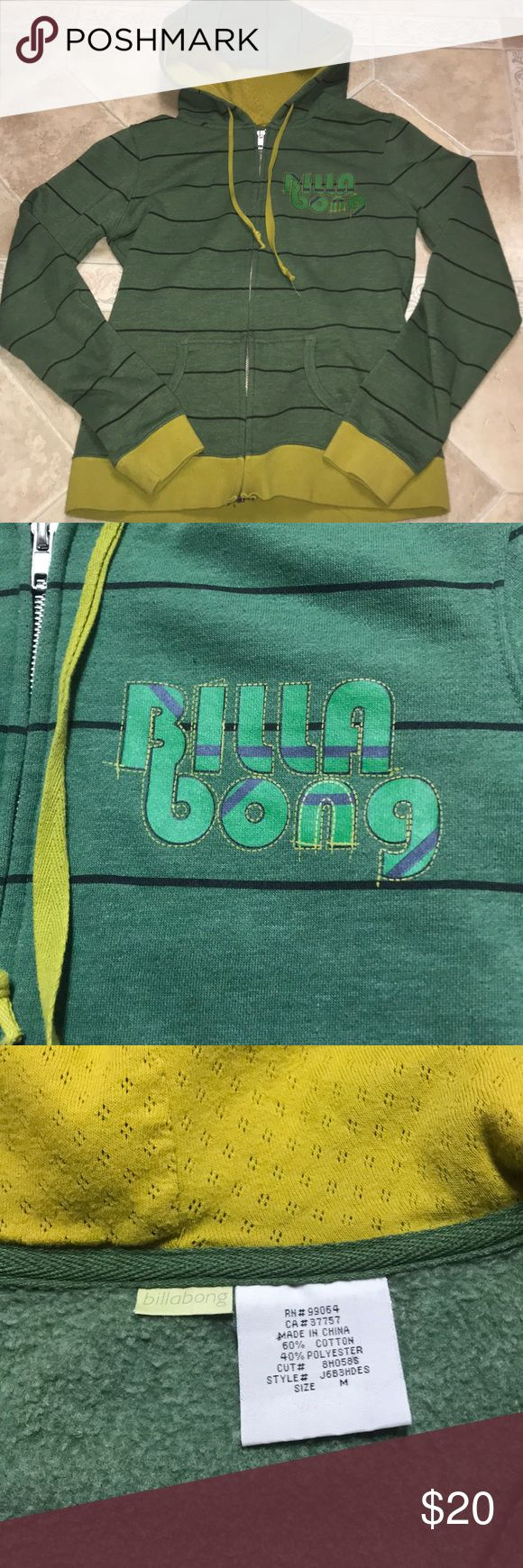 🔥Like New🔥Juniors Billabong zip up hoodie Juniors green, navy blue, and mustard yellow zip up hooded sweatshirt. Size medium and only worn 3 times. Great condition.   *Bundle to save 15%+ and only pay one shipping fee!!!  *Everything comes from a clean and smoke free household.  *Pet friendly household Billabong Tops Sweatshirts & Hoodies