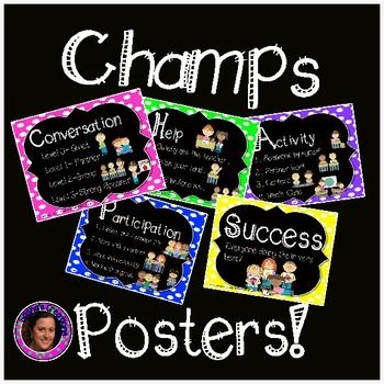 50% of for the 1st 24 hrs. Colorful Champs Posters. Use with magnets or clothes to change expectations as needed.