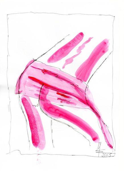 'Nude Illustration pink woman part I – Akt Zeichnung MW Art Marion Waschk' von Marion Waschk bei artflakes.com als Poster oder Kunstdruck $16.63