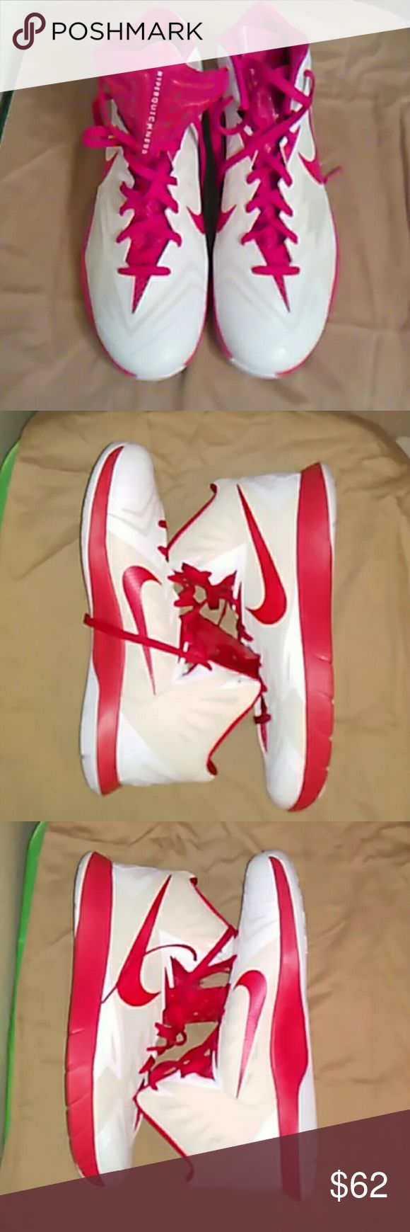 NWOT-Mens Nike Basketball Shoes NWOT- NO BOX. SIZE 15. Made by Nike. White & red with red laces. 2014 Zoom Hyperquickness TB High top basketball shoes. Material is rubber & breathable mesh. Bundle for better discount. Nike Shoes