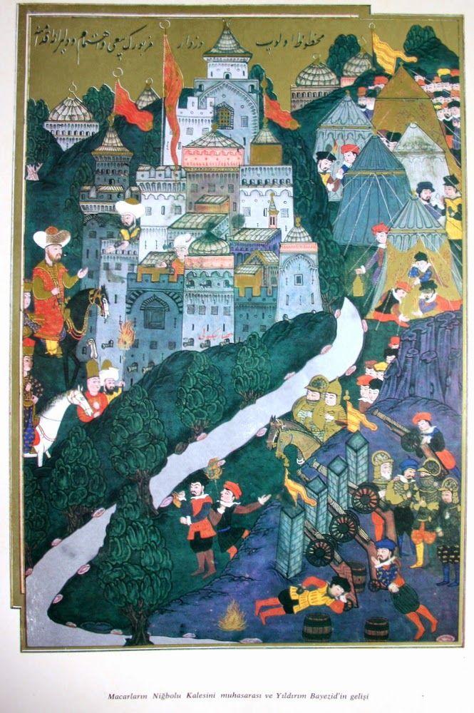 """Hünername'den nakkaş Osman çizimi ile """" Macarların Niğbolu kalesini muhasarası ve Yıldırım Bayezid'in gelişi. """" minyatürü."""