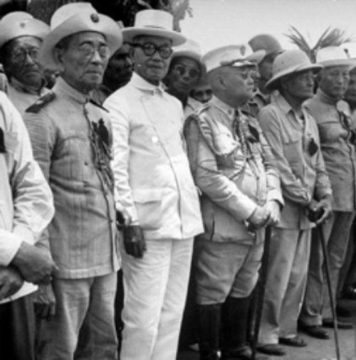 April 25, 1948: President Aguinaldo with veterans of the Revolution at the funeral of President Manuel Roxas.