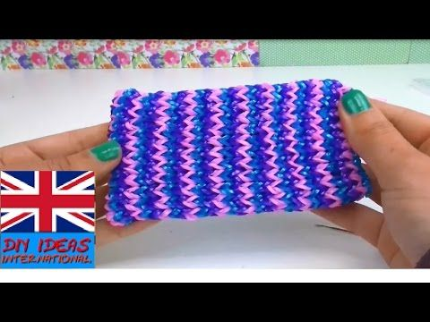 Loom bands phone case easy - how to make a phone cover - Rainbow Loom Cell Phone tutorial - YouTube