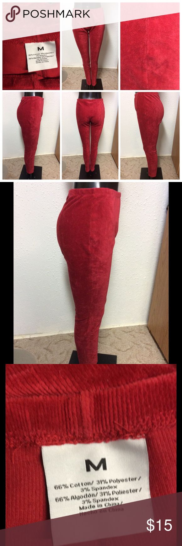 Red Ribbed Leggings Medium cotton polyester spandex blend. I think a larger medium could wear these as they fit generously. Nicole's Resale Pants Leggings