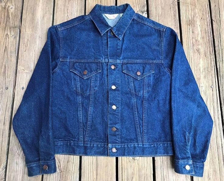 Vintage SIR JAC Denim Blue Western Biker Rockabilly Jean Jacket Men's XL #SirJac #Everyday