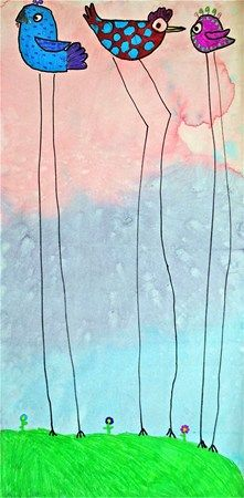 Dali vogels Achtergrond: verdunde ecoline met zout er op gestrooid. Vogels apart tekenen en er later opplakken.