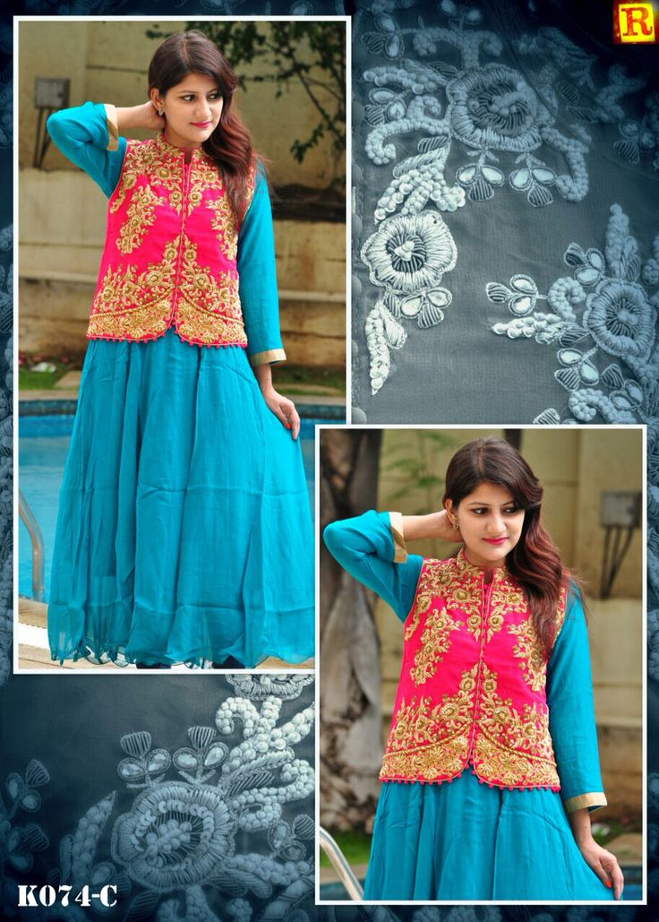 "Sky Blue Long full suit with jacket in full hand work.  Available in size 34"" to 56"". To order what's app on +919840640665  Follow us on www.facebook.com/beigebliss"