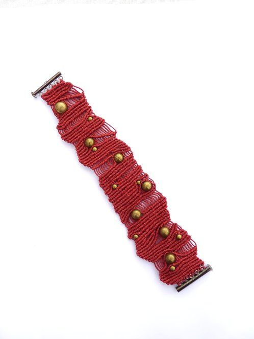 Ifat Nesher - Red and copper dots bracelet