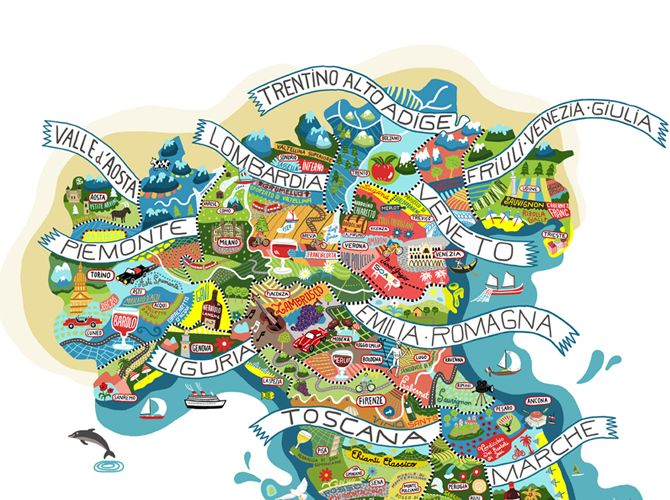 Map of italian wines beautiful regional and italian - Regional italian cuisine ...