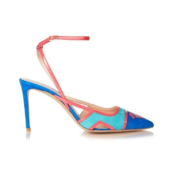 Nicholas Kirkwood Outliner ankle-strap suede pumps ($285) ❤ liked on Polyvore featuring shoes, pumps, blue multi, stilettos shoes, blue suede shoes, ankle strap stiletto pumps, suede shoes and ankle strap pumps