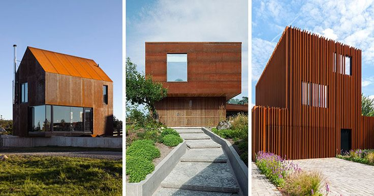 Here are 13 modern houses that are clad in weathering steel to create texture, add originality, and protect the house from the elements.