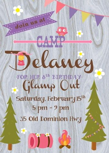 Glamping / Camp Out Girl Birthday Party Digital Invitation