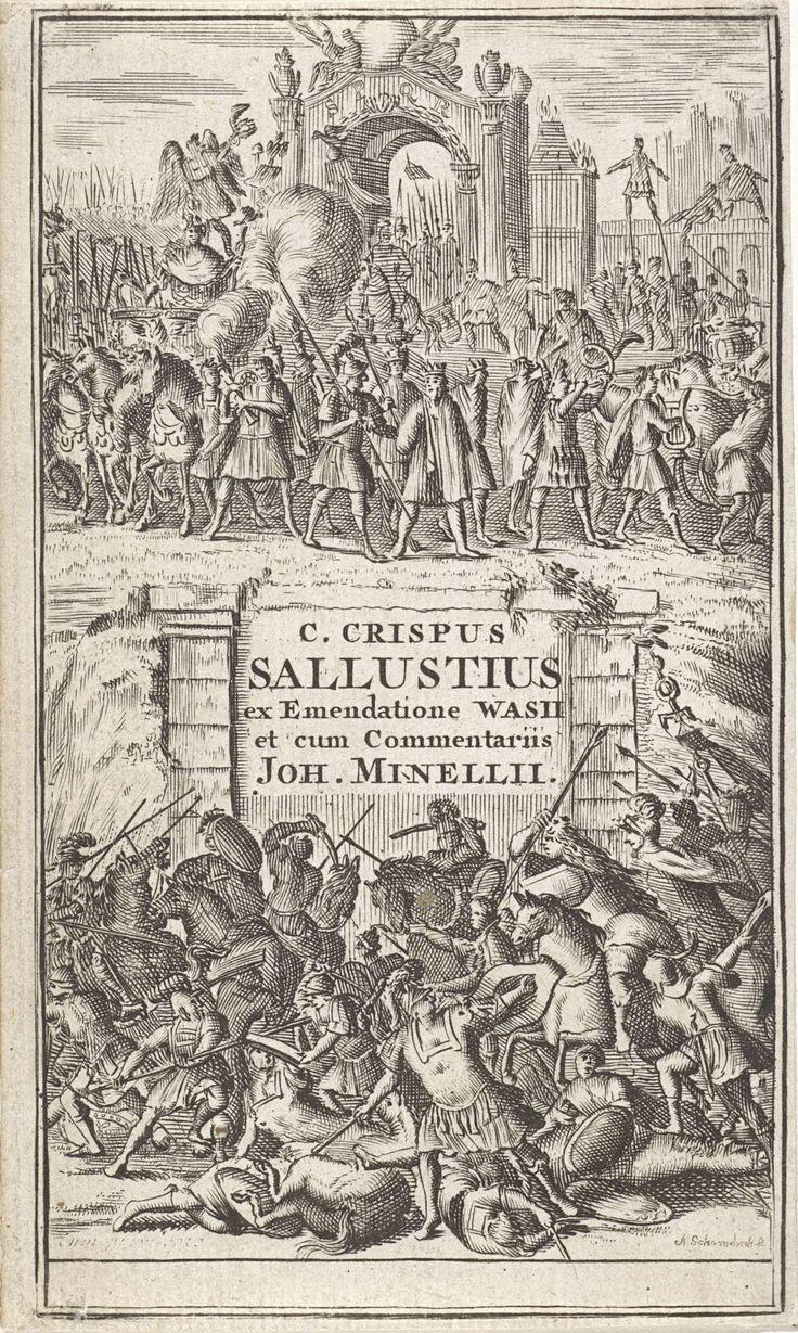 Adriaen Schoonebeek | Slagveld en overwinningsstoet, Adriaen Schoonebeek, Arnout Leers (II), 1685 | Op de onderste helft van de prent in een slagveld te zien met Romeinse soldaten. Op de bovenste helft een triomboog waaronder een stoet triomferende Romeinen met hun gevangenen voorbij trekt.