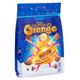 Real orange flavour milk chocolate popping candy.