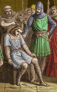 Pépin Le bref dépose Childéric III- PEPIN III. 1)BIOGRAPHIE. 1.2 ROI DES FRANCS. 1.2.1 SACRE DE 751, 1: Si Pépin gagne le titre de roi des Francs par son pouvoir il n'en a pas la légitimité. Cette rupture de la dynastie mérovingienne en appelle une nouvelle qui doit remplacer la succession naturelle de père en fils. Cette continuité est assurée par le sang royal, par l'onction symbolisant le baptême de Clovis 1°, 1° roi mérovingien, et l'alliance particulière entre l'Eglise et le roi des…