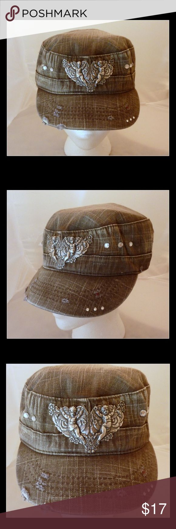 Distressed Grey Military Hat - New - OOAK A grey distressed military hat has been embellished with a double angel metal stamping, rhinestones on both sides and a trio of rhinestones on the brim to top it off.  This hat is adjustable and will fit all sizes. Brand New. Accessories Hats