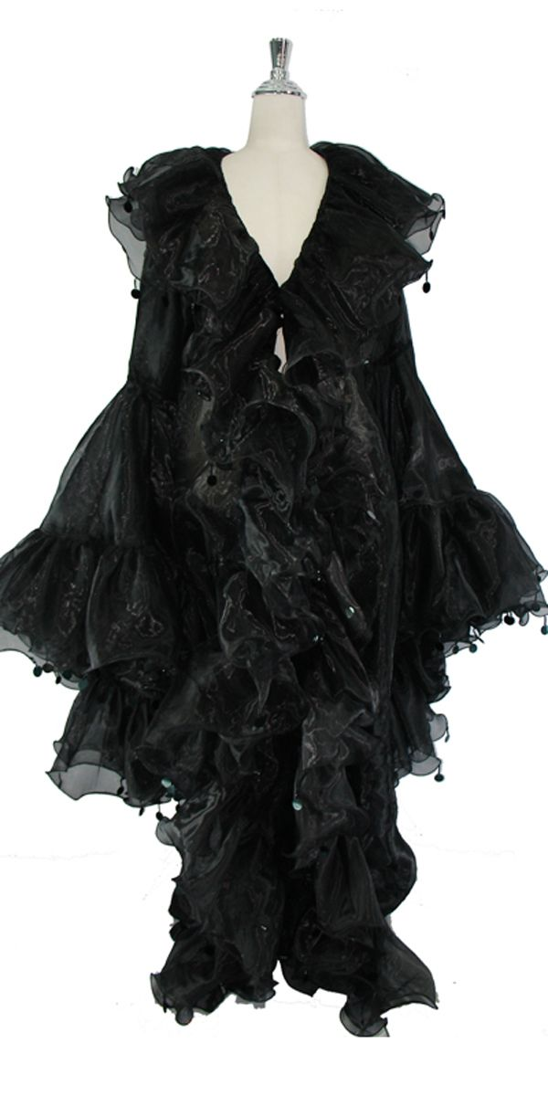 Long Organza Ruffle Coat with Oversized Sleeves and Highlight Sequins in Black.