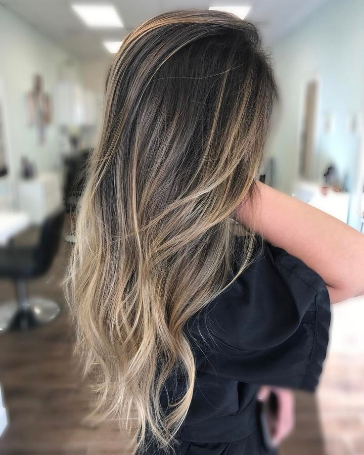 """368 Likes, 10 Comments - Gabrielle (@hairby_gabbs) on Instagram: """"Straight balayage and deep V's I'm obsessed with the @jackwinncolor lightener and @olaplex…"""""""
