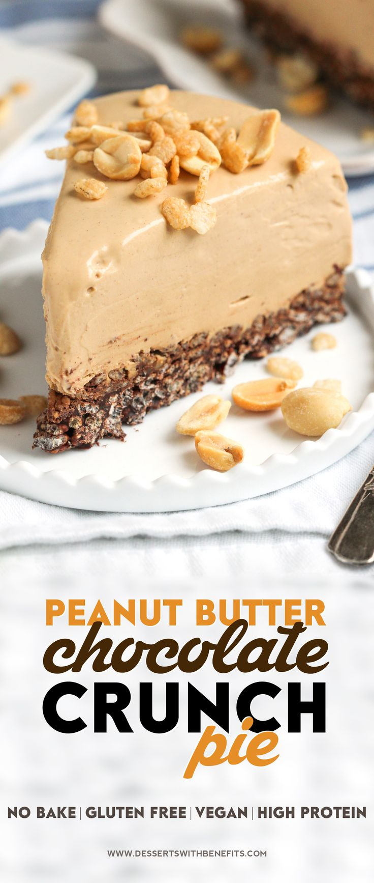Healthy Peanut Butter Chocolate Crunch Pie -- a thick, rich, and delicious peanut butter filling atop a crunchy and decadent chocolate base! (no bake, low sugar, high protein, high fiber, gluten free, dairy free, vegan)