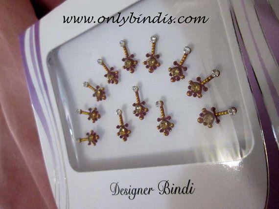 12 Pretty Maroon Bindis with Golden Beads by BindiStoreUSACANADA