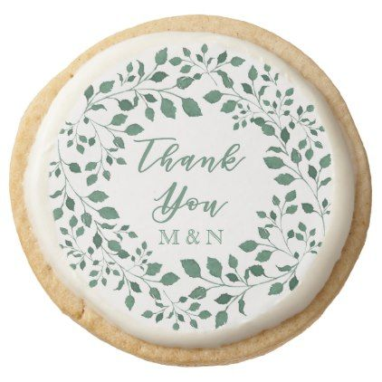 Thank You | Green Leaves Wreath Monogram Wedding Round Shortbread Cookie - wedding thank you marriage thankyou idea diy customize personalize