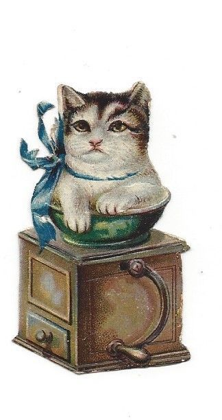 Victorian Die Cut Scrap Kitten in a Coffee Grinder