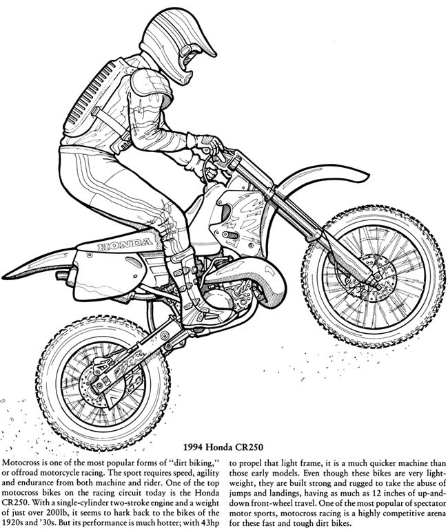 Motorcycles Coloring Book Dover Publications Bike