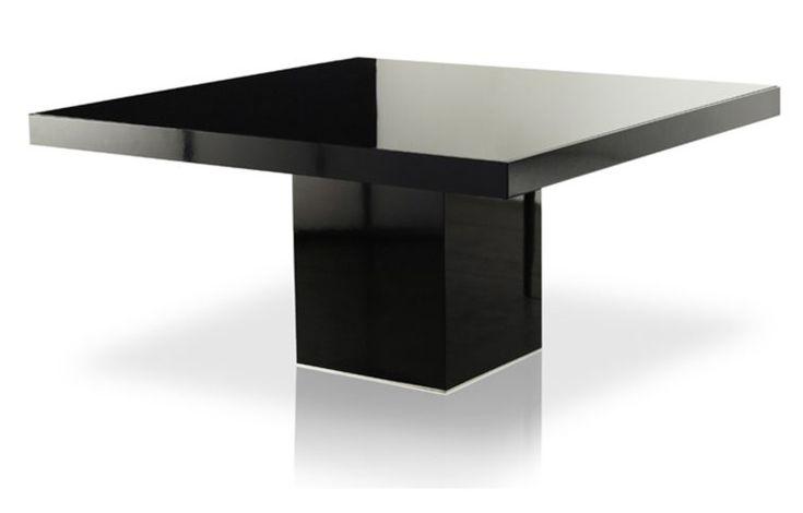 Modern Minimalist Small Square Glossy Black Pedestal