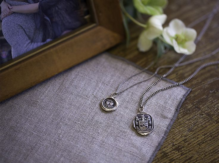 Hearts talisman necklace for her & Love Conquers All talisman necklace for him — Gift ideas for the happy couple — Pyrrha Jewelry