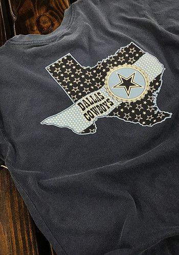 Dallas Cowboys Womens Navy Blue Ribbon State Short Sleeve T-Shirt Let  everyone know who you root for in this  DallasCowboys Navy Blue Ribbon  State Short ... 5f51aa51b