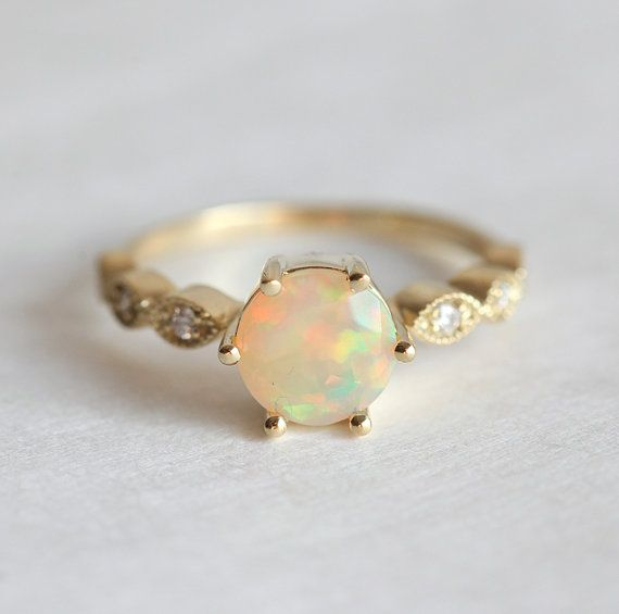 Ethiopian Opal Ring Opal Engagement Ring Welo opal by capucinne