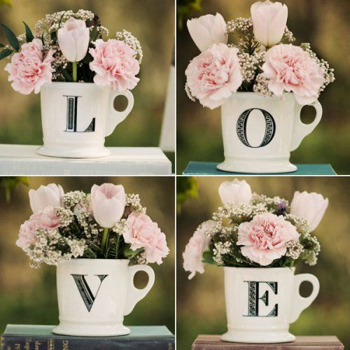 Hearts and Love themed bridal shower coffee mugs with pink flowers.