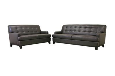 Baxton Studio Adair Brown Leather Modern Sofa Set | couch and loveseat | sofa sets Price:$1,186.00