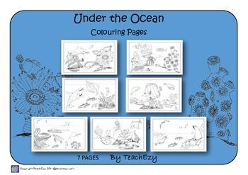Ocean: Seven coloring pages for home or the classroom of ocean scenes. Great of Ocean's Day or for science study of the oceans.