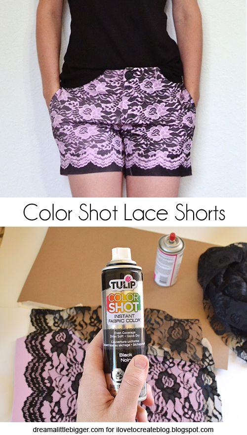 iLoveToCreate Blog: Color Shot Lace Shorts Tutorial